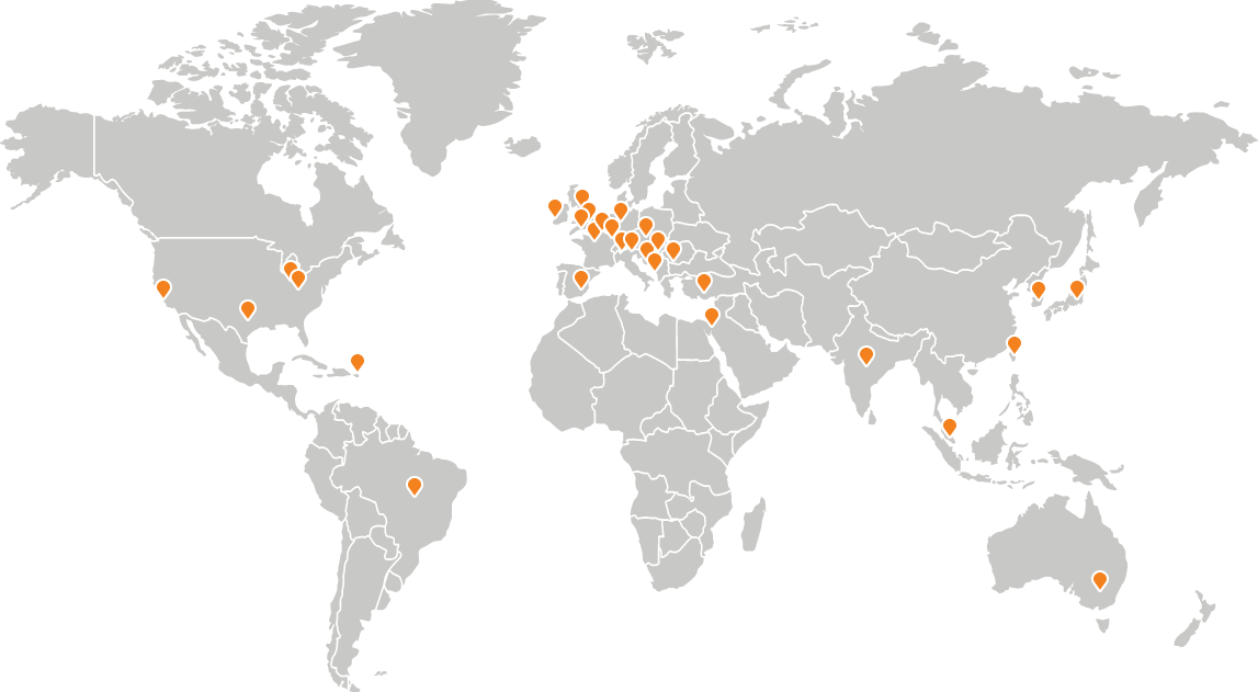 Map showing worldwide locations of distributors