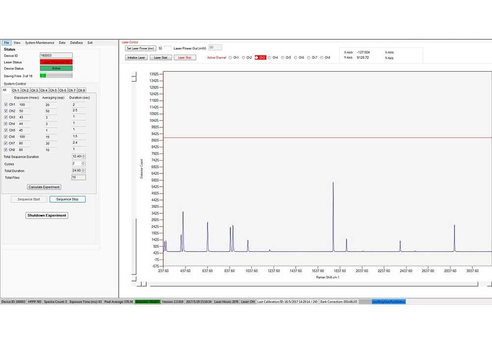SpectralSoft software screenshot - control panel